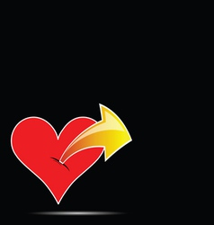 heart with arrow color vector image vector image