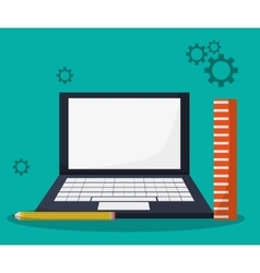 Laptop learning gear ruler pencil vector