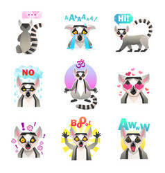 Lemur emoji stickers set vector