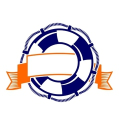lifebuoy with banner symbol vector image