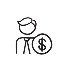 Man with dollar sign sketch icon vector