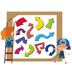 many arrows in different colors on board vector image