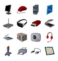 Personal computer accessories set icons in cartoon vector