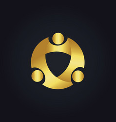 Round circle group gold logo vector