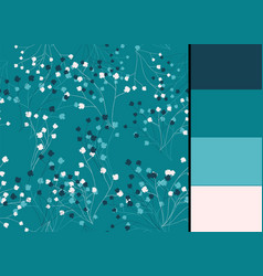 Seamless pattern with blue floral stylized vector