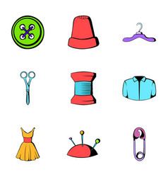 Sewing icons set cartoon style vector