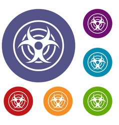 Sign of biological threat icons set vector