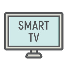 Smart tv colorful line icon household appliance vector