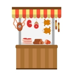 Street fresh meat store butcher shop showcase vector