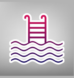 Swimming pool sign purple gradient icon vector
