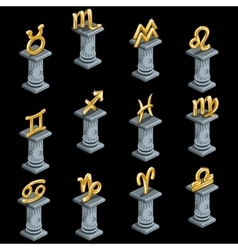 Twelve gold figurines of zodiac signs on columns vector