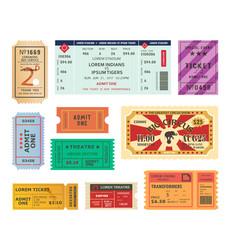 vintage tickets paper coupons for circus cinema vector image vector image