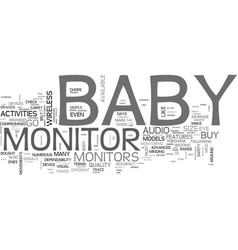 what to look for when you buy a baby monitor text vector image vector image