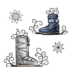 Winter shoes sketch for your design vector image vector image