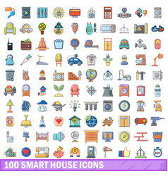 100 smart house icons set cartoon style vector image
