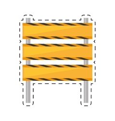 Barricade construction traffic caution cut line vector