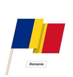 Romania ribbon waving flag isolated on white vector