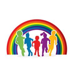 group of children running vector image