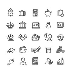 Banking and accounting icon black thin line set vector