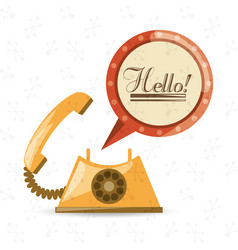 Retro telephone to call and talk vector