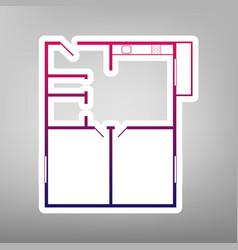 Apartment house floor plans purple vector