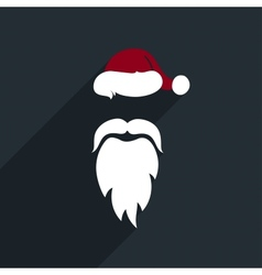 Flat design santa claus face icon greeting card vector