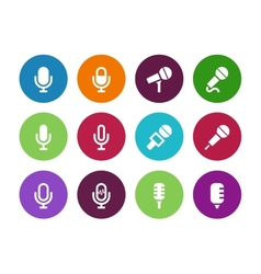 Microphone circle icons on white background vector