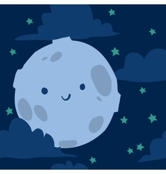 Funny moon with tiny stars seamless background vector