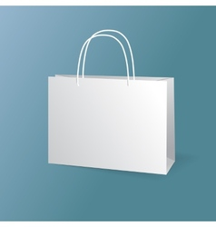 White paper bags set isolated on blue background vector