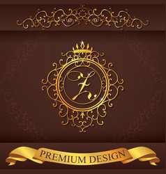 Letter z luxury logo template flourishes vector
