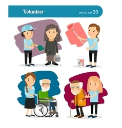 Woman volunteer characters vector