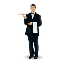 A welcoming waiter character holding a serving vector