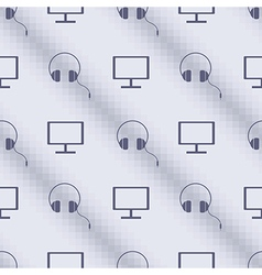Pattern with pc monitors and headphones vector