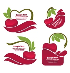 Cherry juice and berry labels vector