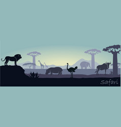 African landscape with wild animals vector