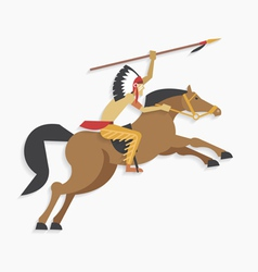 American indian chief with spear riding horse vector