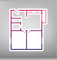 Apartment house floor plans purple vector