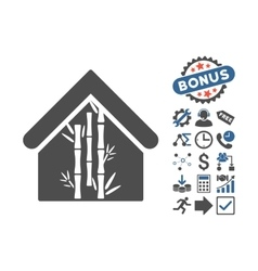Bamboo House Flat Icon With Bonus vector image