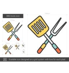 Bbq tools line icon vector