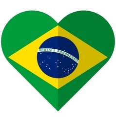 Brazil flat heart flag vector
