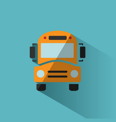 Bus school icon with shadow on blue background vector