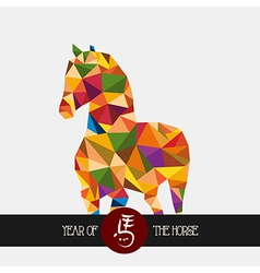Chinese new year of the horse colorful triangle vector