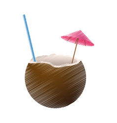 Coconut cocktail icon image vector