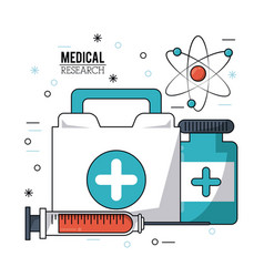 Color poster medical research with first aid kit vector