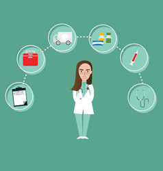 Doctor girl character and medical icons around vector