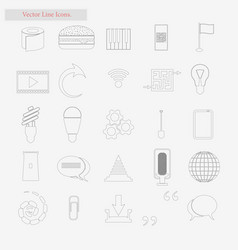 everyday stuff set style line icons on vector image