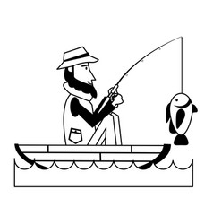 fisherman on boat icon image vector image