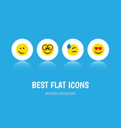 Flat icon expression set of love winking tears vector