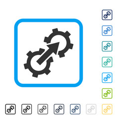Gear integration framed icon vector