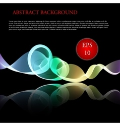 Glowing waves on black background vector image
